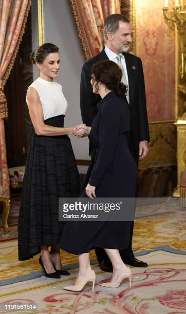 King Felipe VI of Spain and Queen Letizia of Spain receive Isabel Díaz Ayuso because of the United Nations conference for the Climate Summit 2019 at...