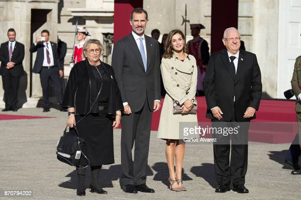 King Felipe VI of Spain and Queen Letizia of Spain receive Israeli President Reuven Rivlin and wife Nechama Rivlin at the Royal Palace on November...