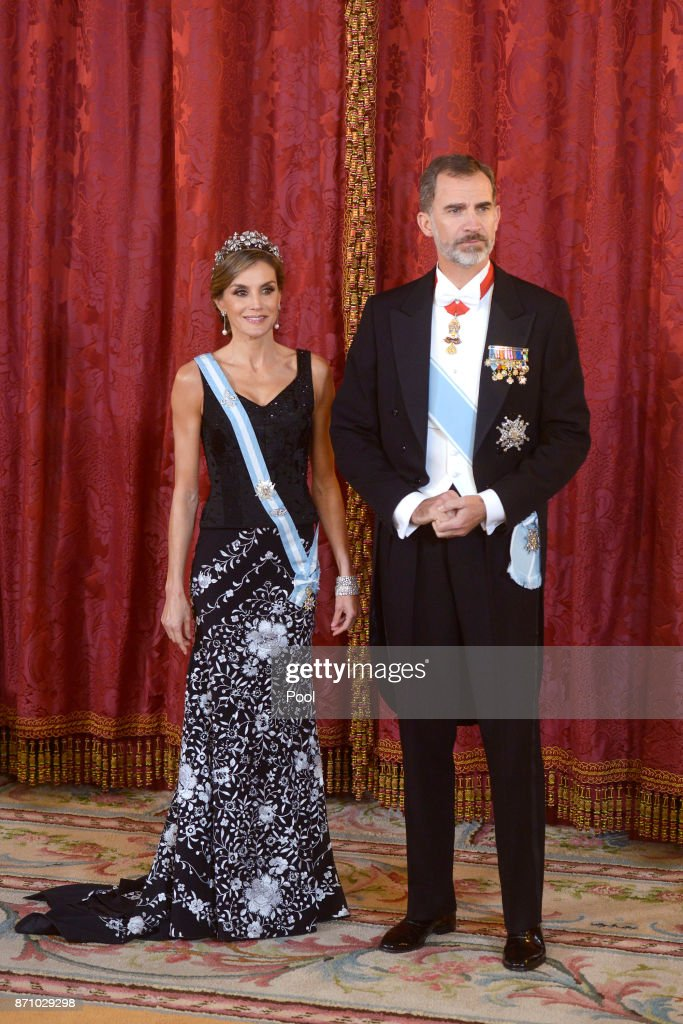King Felipe VI of Spain and Queen Letizia of Spain receive Israeli President Reuven Rivlin and wife Nechama Rivlin for a Gala Dinner at the Royal Palace on November 6, 2017 in Madrid, Spain.