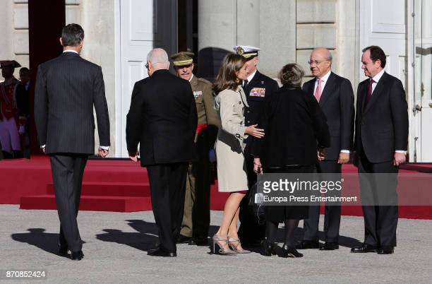 King Felipe VI of Spain and Queen Letizia of Spain receive Israel's president Reuven Rivlin and wife Nechama Rivlin at Royal Palace on November 6,...