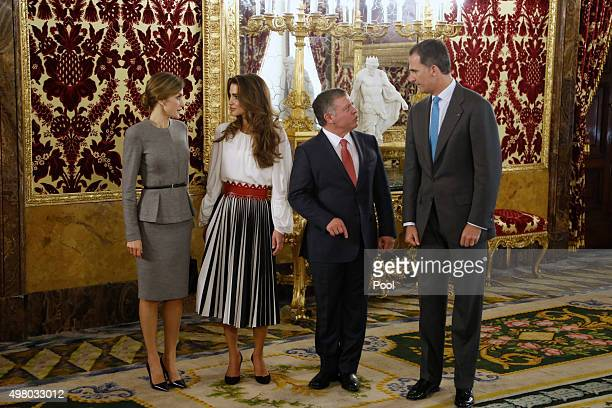 King Felipe VI of Spain and Queen Letizia of Spain receive King Abdullah of Jordan and Queen Abdullah of Jordan for a lunch at the Royal Palace on...