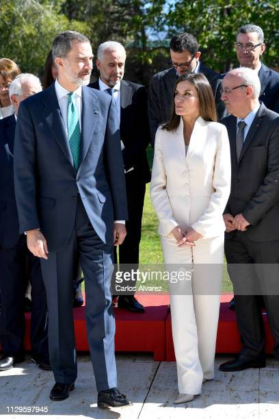 King Felipe VI of Spain and Queen Letizia of Spain receive Moroccan Authors at the Spanish Embassy on February 14 2019 in Rabat Morocco