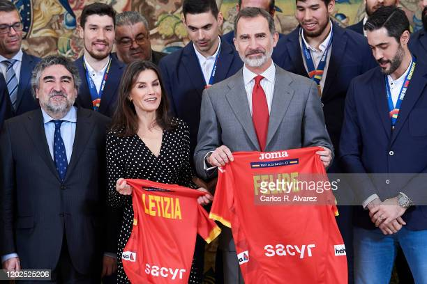 King Felipe VI of Spain and Queen Letizia of Spain receive National Handball Men's team at Zarzuela Palace on January 28, 2020 in Madrid, Spain.