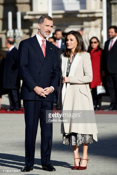King Felipe VI of Spain and Queen Letizia of Spain receive Peruvian President Martin Alberto Vizcarra at the Royal Palace on February 27, 2019 in...