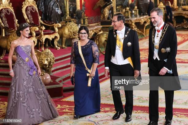 King Felipe VI of Spain and Queen Letizia of Spain receive Peruvian President Martin Alberto Vizcarra and wife Maribel Diaz Cabello for a Gala Dinner...