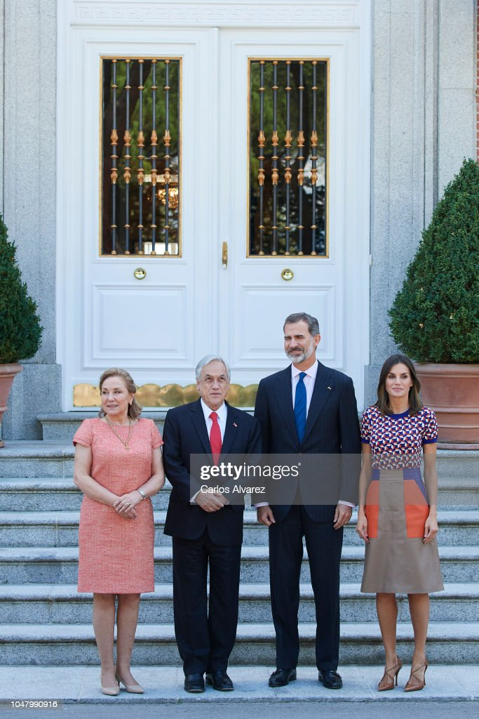 Spanish Royals Receive President Of Chile And His Wife At Zarzuela Palace : ニュース写真