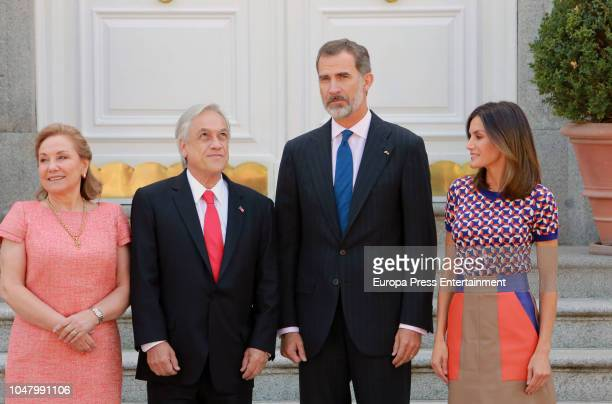 King Felipe VI of Spain and Queen Letizia of Spain receive president of Chile Sebastian Pinera and wife Cecilia Morel Montes at Zarzuela Palace on...
