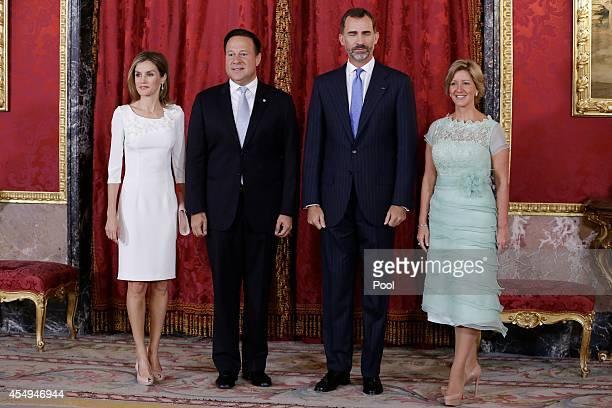 King Felipe VI of Spain and Queen Letizia of Spain receive President of Panama Juan Carlos Varela and wife Lorena Castillo de Varela at the Royal...