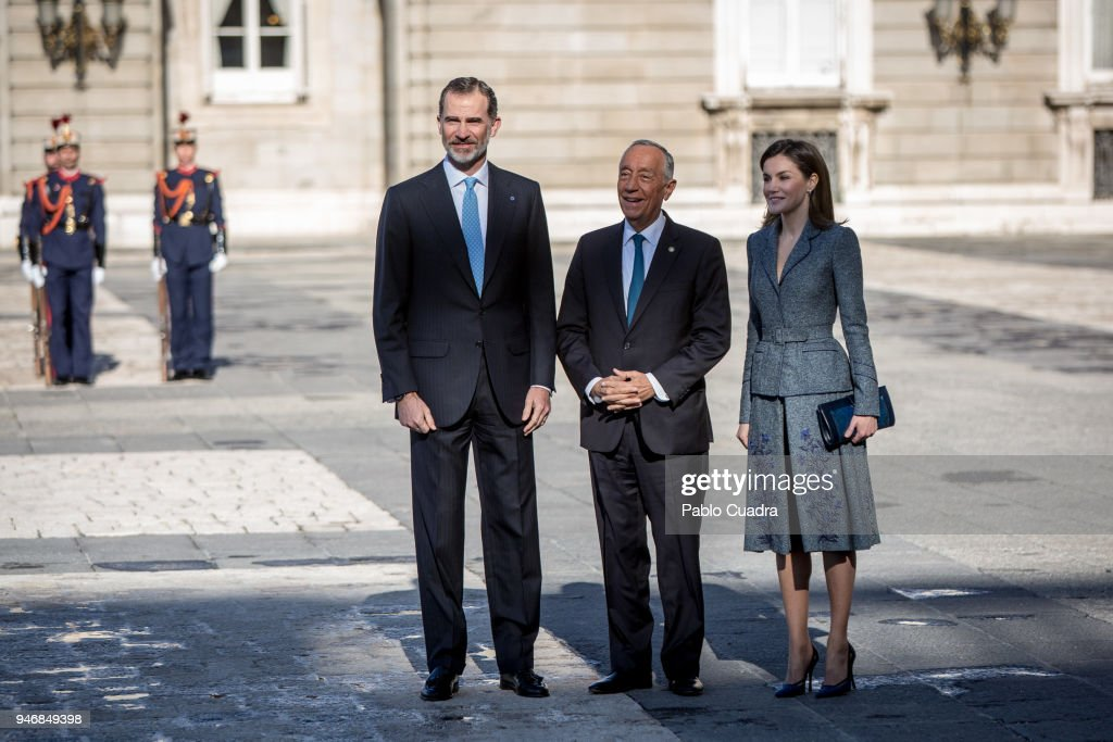 King Felipe VI of Spain (L) and Queen Letizia of Spain (R) receive president of Portugal Marcelo Rebelo de Sousa (C) at the Royal Palace on April 16, 2018 in Madrid, Spain.