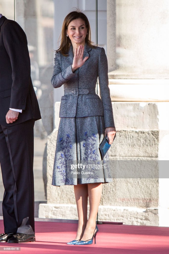 King Felipe VI of Spain and Queen Letizia of Spain receive president of Portugal Marcelo Rebelo de Sousa at the Royal Palace on April 16, 2018 in Madrid, Spain.