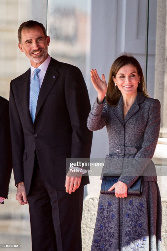 King Felipe VI of Spain (L) and Queen Letizia of Spain (R) receive president of Portugal Marcelo Rebelo de Sousa at the Royal Palace on April 16, 2018 in Madrid, Spain.