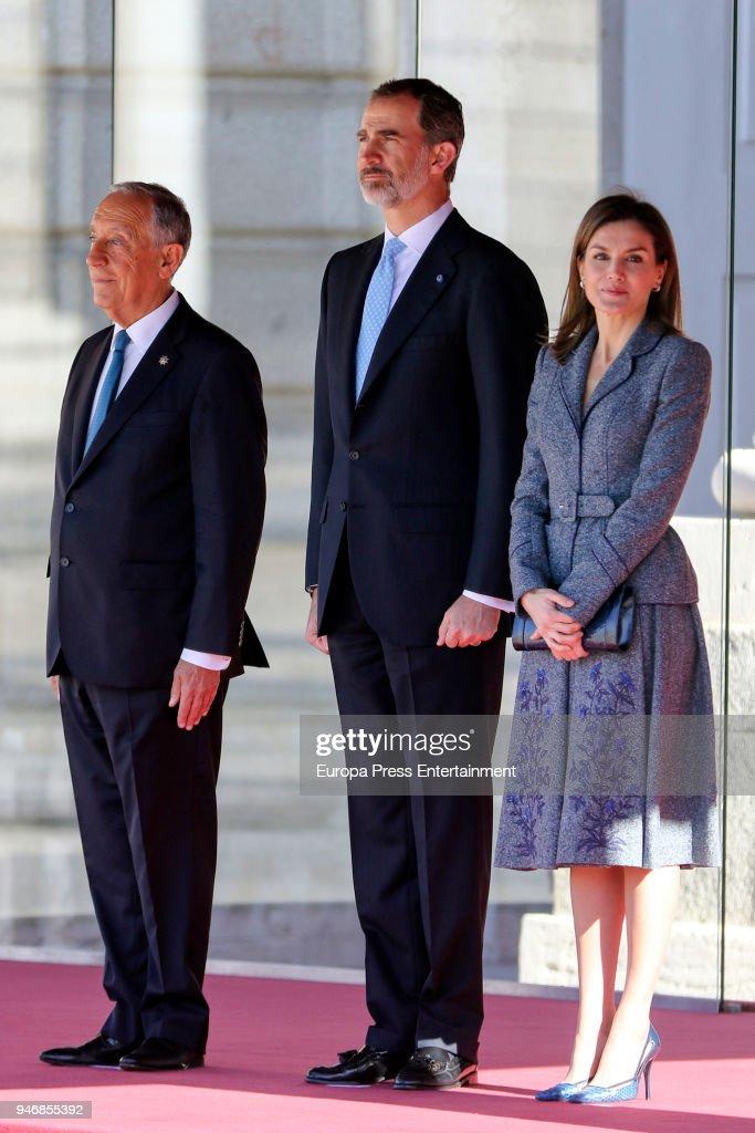 King Felipe VI of Spain and Queen Letizia of Spain receive president of Portugal Marcelo Rebelo de Sousa (L) on April 16, 2018 in Madrid, Spain.
