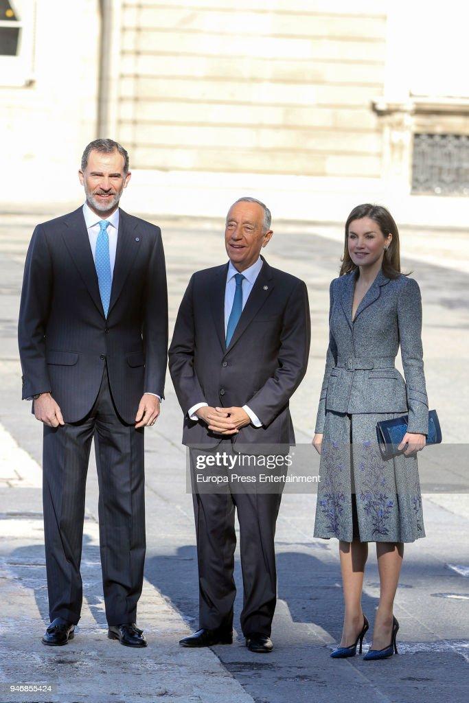 King Felipe VI of Spain and Queen Letizia of Spain receive president of Portugal Marcelo Rebelo de Sousa (C) on April 16, 2018 in Madrid, Spain.