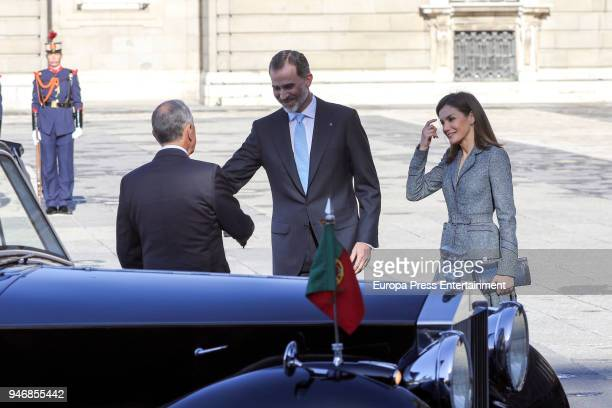 King Felipe VI of Spain and Queen Letizia of Spain receive president of Portugal Marcelo Rebelo de Sousa on April 16 2018 in Madrid Spain