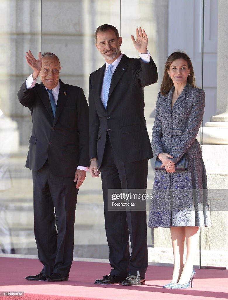 Spanish Royals Receive President of Portugal Marcelona Rebelo de Sousa