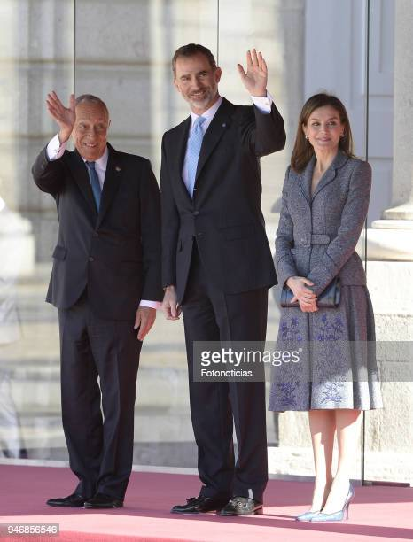 King Felipe VI of Spain and Queen Letizia of Spain receive president of Portugal Marcelo Rebelo de Sousa at the Royal Palace on April 16 2018 in...