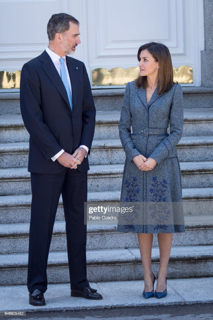 King Felipe VI of Spain (L) and Queen Letizia of Spain (R) receive president of Portugal Marcelo Rebelo de Sousa at Zarzuela Palace on April 16, 2018 in Madrid, Spain.