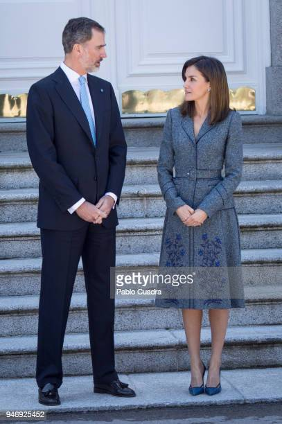 King Felipe VI of Spain and Queen Letizia of Spain receive president of Portugal Marcelo Rebelo de Sousa at Zarzuela Palace on April 16 2018 in...