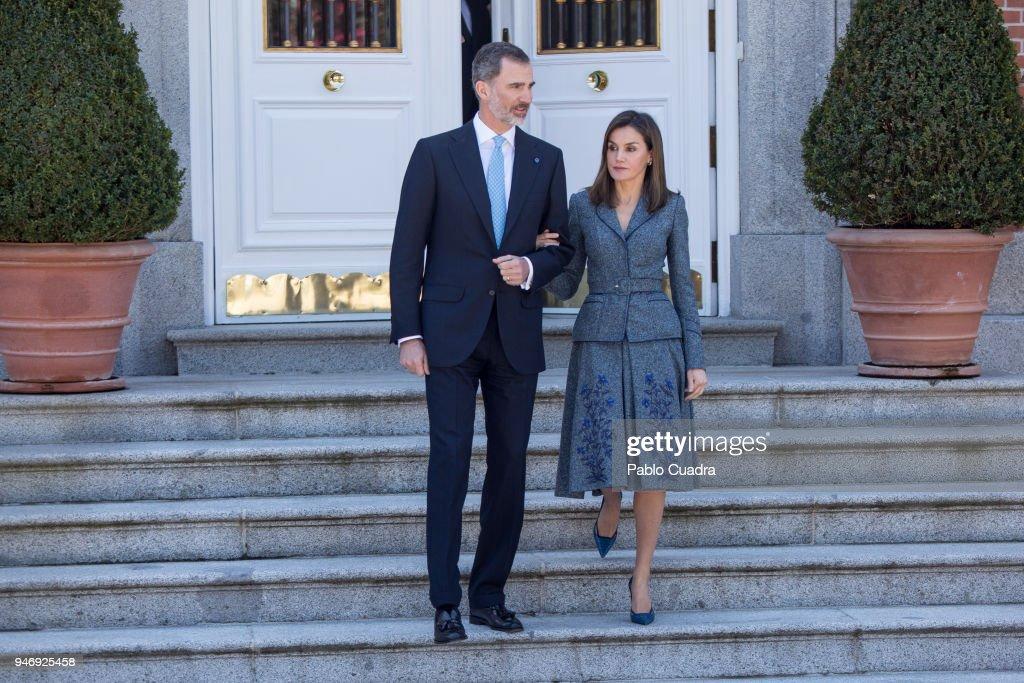 King Felipe VI of Spain (L) and Queen Letizia of Spain (R) receive president of Portugal Marcelo Rebelo de Sousa at Zarzuela Palace on April 16, 2018 in Madrid, Spain.