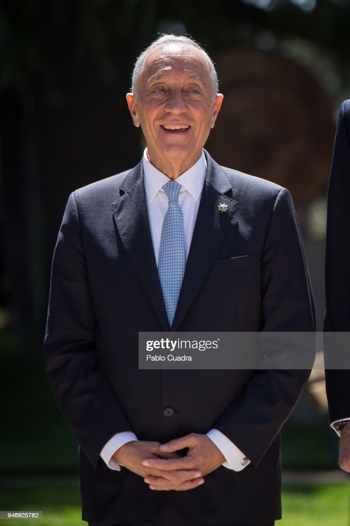 King Felipe VI of Spain and Queen Letizia of Spain receive president of Portugal Marcelo Rebelo de Sousa at Zarzuela Palace on April 16, 2018 in Madrid, Spain.