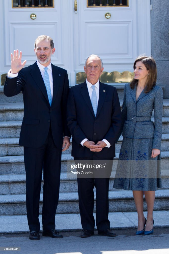 King Felipe VI of Spain (L) and Queen Letizia of Spain (R) receive president of Portugal Marcelo Rebelo (C) de Sousa at Zarzuela Palace on April 16, 2018 in Madrid, Spain.
