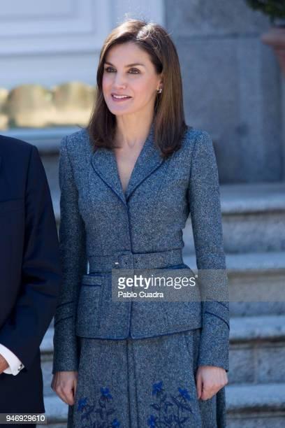 King Felipe VI of Spain and Queen Letizia of Spain receive president of Portugal Marcelo Rebelo de Sousa at Zarzuela Palace on April 16 2018 in...