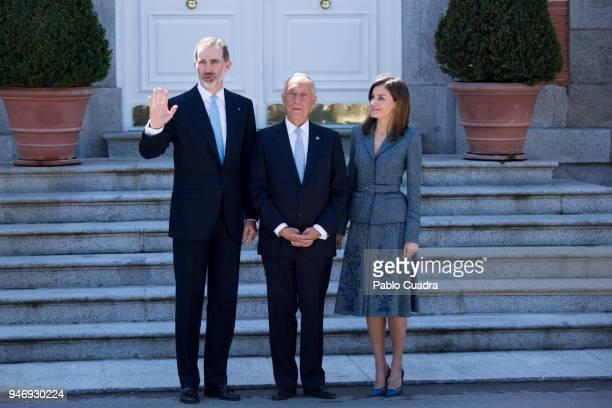 King Felipe VI of Spain and Queen Letizia of Spain receive president of Portugal Marcelo Rebelo de Sousa at Zarzuela Palace on April 16, 2018 in...