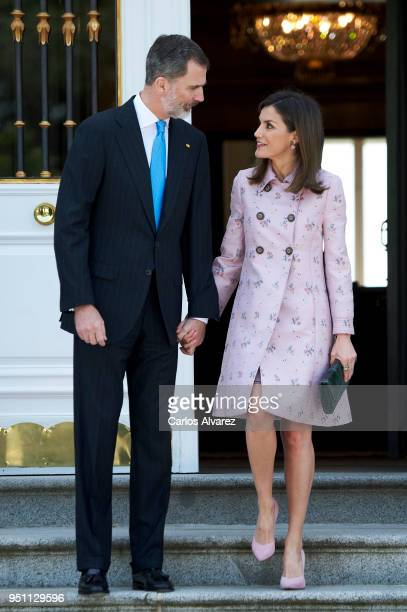 King Felipe VI of Spain and Queen Letizia of Spain receive President of Mexico Enrique Pena Nieto and his wife Angelica Rivera at the Zarzuela Palace...