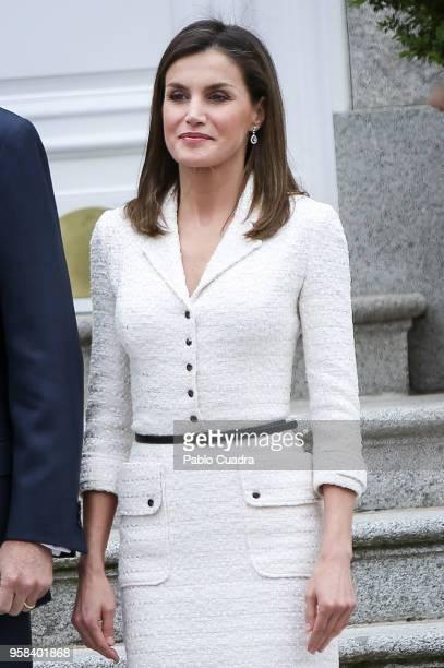 King Felipe VI of Spain and Queen Letizia of Spain receive President of Colombia Juan Manuel Santos Calderon and wife Maria Clemencia Rodriguez de...