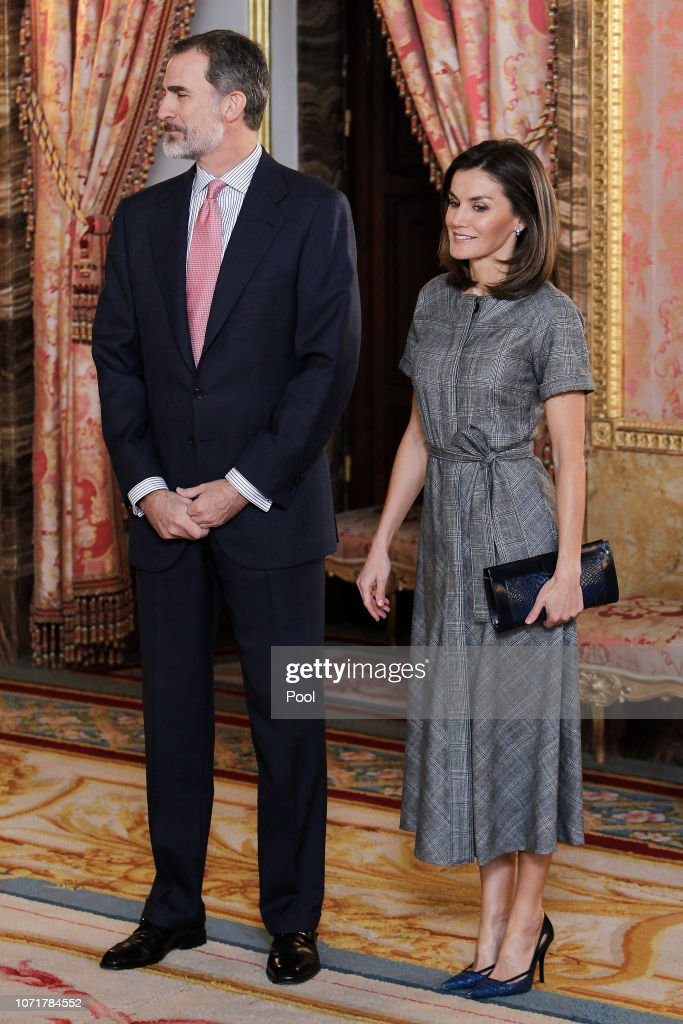 Spanish Royals Meet 'Princesa De Girona' Foundation At The Royal Palace : News Photo
