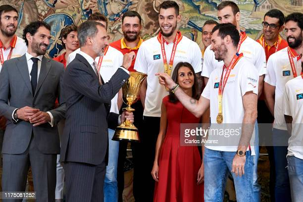 King Felipe VI of Spain and Queen Letizia of Spain receive Spain Basketball National Selection at Zarzuela Palace on September 16 2019 in Madrid Spain