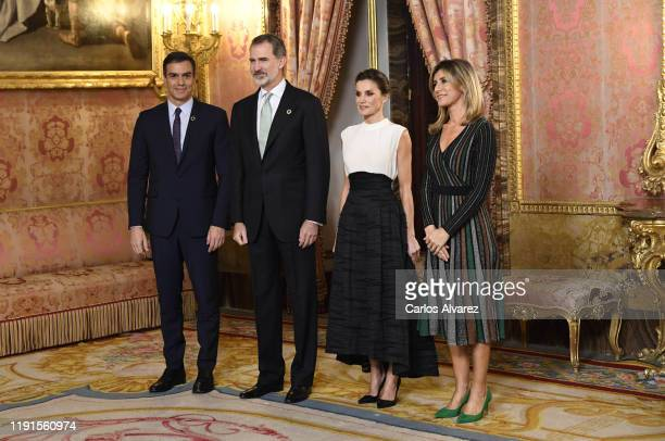 King Felipe VI of Spain and Queen Letizia of Spain receive Spanish prime minister Pedro Sanchez and wife Begona Gomez because of the United Nations...