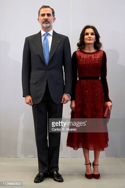 King Felipe VI of Spain and Queen Letizia of Spain receive the Spanish community at the National Library on February 14 2019 in Rabat Morocco The...