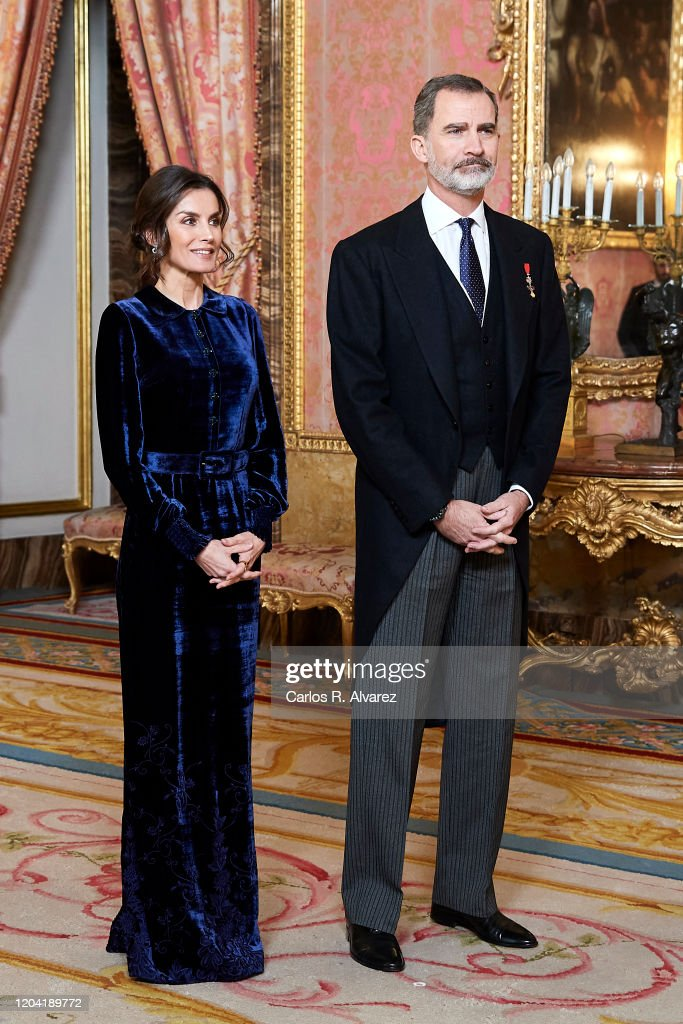 Spanish Royals Receive The Diplomatic Corps At Zarzuela Palace : News Photo