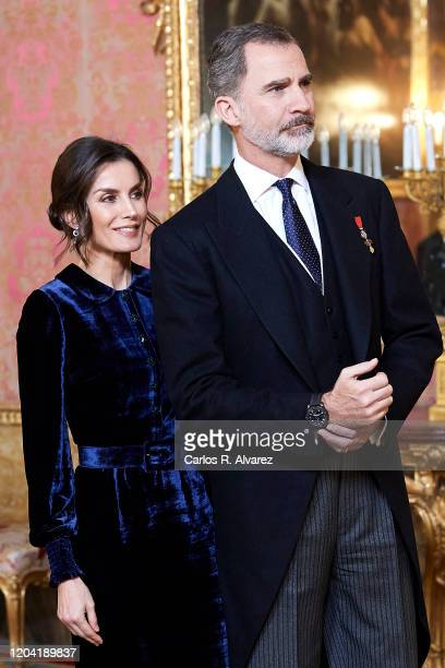 King Felipe VI of Spain and Queen Letizia of Spain receive the Diplomatic Corps at the Zarzuela Palace on February 05, 2020 in Madrid, Spain.