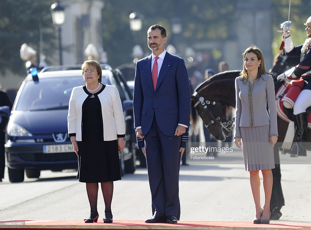Spanish Royals Receive President of Chile Michelle Bachelet : News Photo