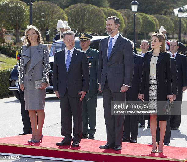 King Felipe VI of Spain and Queen Letizia of Spain receive the President of Colombia Juan Manuel Santos and his wife Maria Clemencia Rodriguez de...