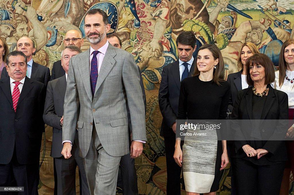 King Felipe VI of Spain and Queen Letizia of Spain receive TVE members at Zarzuela Palace on November 18, 2016 in Madrid, Spain.