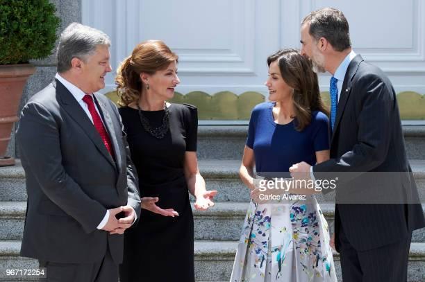 King Felipe VI of Spain and Queen Letizia of Spain receive Ukrainian President Petro Poroshenko and wife Maryna Poroshenko at the Zarzuela Palace on...