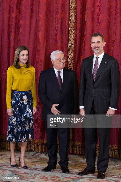 King Felipe VI of Spain and Queen Letizia of Spain receives Palestinian President Mahmoud Abbas at the Royal Palace on November 20 2017 in Madrid...