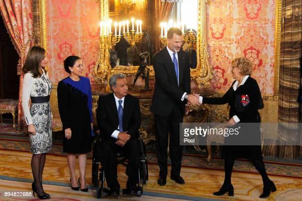 King Felipe VI of Spain and Queen Letizia of Spain receives President of Ecuador Lenin Moreno Garces and his wife Rocio Gonzalez Navas at the Royal...