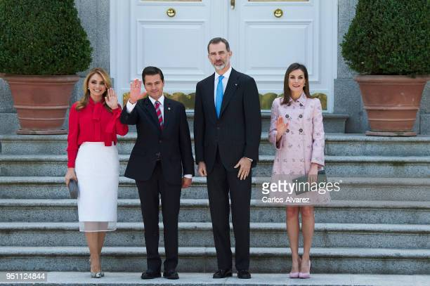 King Felipe VI of Spain and Queen Letizia of Spain receives President of Mexico Enrique Pena Nieto and his wife Angelica Rivera at the Zarzuela...