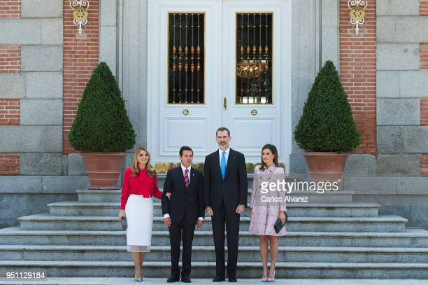 King Felipe VI of Spain and Queen Letizia of Spain receives President of Mexico Enrique Pena Nieto and his wife Angelica Rivera at the Zarzuela...