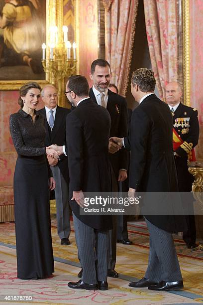 King Felipe VI of Spain and Queen Letizia of Spain receives USA embassador James Costos and husband Michael Smith during the the annual Foreign...