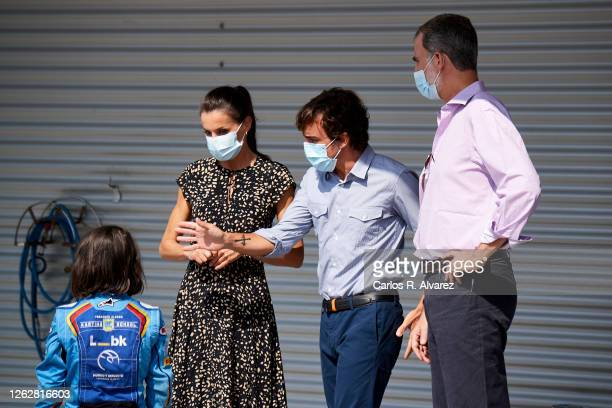 King Felipe VI of Spain and Queen Letizia of Spain speak with Fernando Alonso during a visit to the Fernando Alonso Museum and Circuit on July 30...