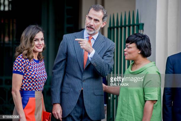 King Felipe VI of Spain and Queen Letizia of Spain speak with New Orleans Mayor LaToya Cantrell outside the Cabildo before their tour in Jackson...