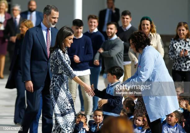 King Felipe VI of Spain and Queen Letizia of Spain visit a school on February 06, 2020 in Ecija, Spain.