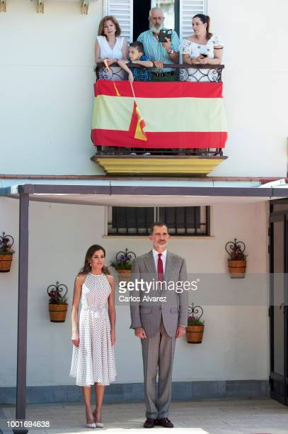 King Felipe VI of Spain and Queen Letizia of Spain visit de city of Bailen in occasion of the 210th anniversary of the Bailen Battle on July 19 in...