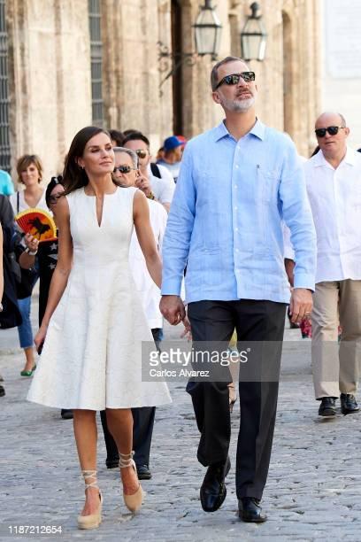King Felipe VI of Spain and Queen Letizia of Spain visit La Havana Vieja on November 12, 2019 in La Havana, Cuba. King Felipe VI of Spain and Queen...