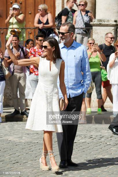 King Felipe VI of Spain and Queen Letizia of Spain visit La Havana Vieja on November 12, 2019 in La Havana, Cuba. King Felipe VI of Spain and Queen...